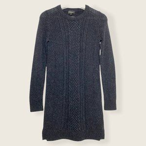 Babaton Wool Cashmere Blend Sweater Dress Dark Grey Cable Knit Front